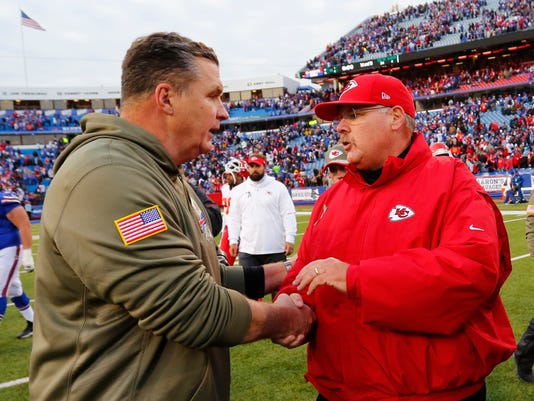 Buffalo Bills coach Doug Marrone, left, and Kansas City Chiefs coach Andy Reid shake hands after an NFL football game, Sunday, Nov. 9, 2014, in Orchard Park, N.Y. The Chiefs won 17-13. (AP Photo/Bill Wippert)