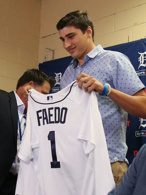 Tigers first-round draft pick Alex Faedo was introduced to the media and took questions July 5, 2017 at Comerica Park.