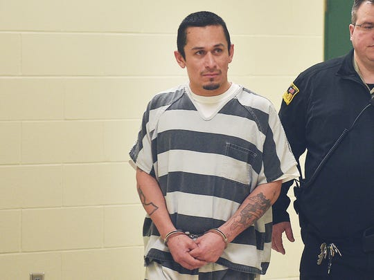 Manuel Frias walks to court Thursday, Feb. 8, at Minnehaha County Jail. Frias is charged with first-degree murder.