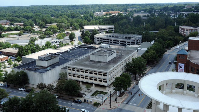The Greenville News property as seen from atop City Hall.