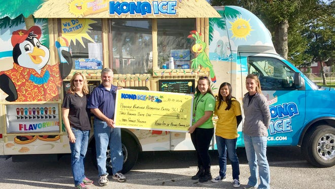 From left, Deborah and Craig Davis, owners of Kona Ice of Adams County, presents a $361.80 check to Alyssa Warner and Samantha Bankert, playground supervisors for the summer program, and Kyla Swope, Hanover Borough Recreation Director.