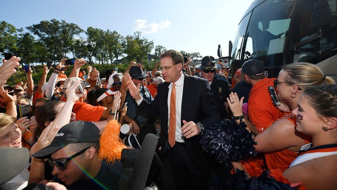 Auburn coach Gus Malzahn during Tiger Walk