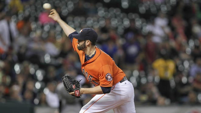 Houston Astros relief pitcher Josh Zeid pitches during the seventh inning against the Chicago White Sox.