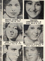 "Victims of the ""Son of Sam"" shootings. Left, column, going down: Donna Lauria, Jody Valenti, Carl DeNaro, Joanne Lomino, Donna DeMasi, Christine Freund. Right column going down: Virginia Voskerichian, Valentina Suriani, Alexander Esau, Judy Placido, Robert Violante, Stacy Moskowitz."