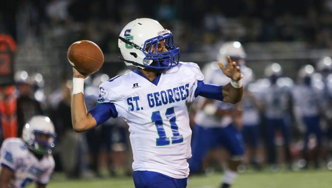 St. Georges quarterback Robert Shorts throws downfield in the second quarter. Appoquinimink hosts St. Georges at Appoquinimink Friday.