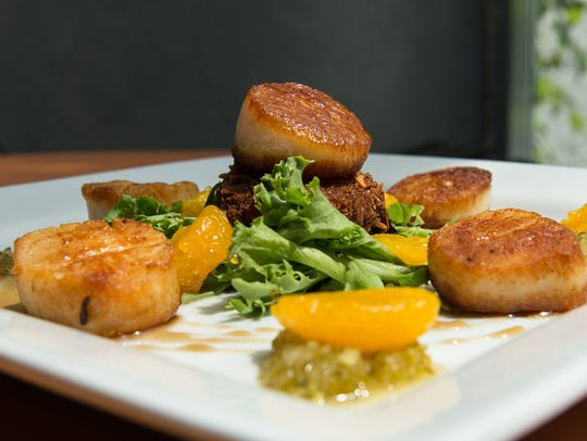 A view of the seared scallops at Roadie Joe's on Tuesday,