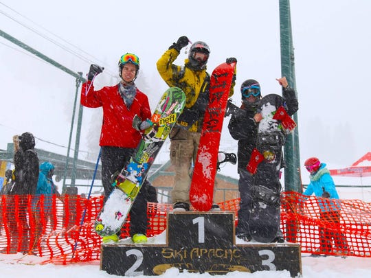 Chris (first), Kevin (second) and Jesse (third) took home top honors in the Ski Apache Terrain park teen division.