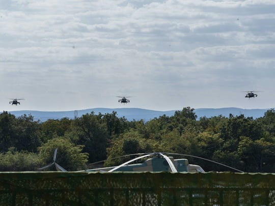 The 3-501st provide Black Hawk support for an air assault during an exercise in Hungary.