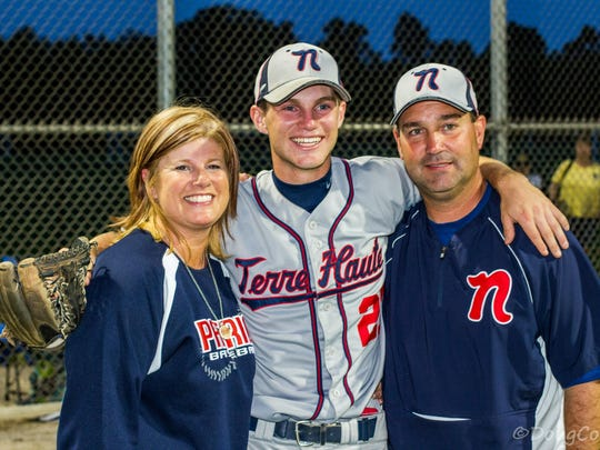 Richmond High School senior Austin Turner (center) with mom Tiffany Turner, left, and father and coach Shawn Turner, right.