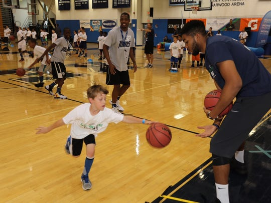 Karl-Anthony Towns works with kids at Citi Karl-Anthony Towns Basketball ProCamp Thursday at Kean University