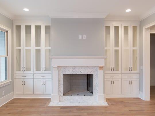 An abundance of built ins, and a ventless fireplace