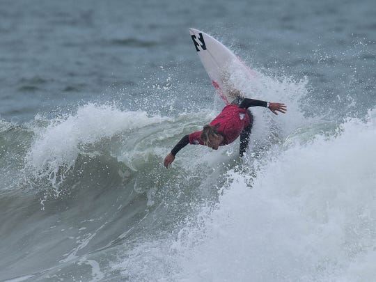 Vero Beach's Tommy Coleman, shown competing in the Florida Pro, is among the veteran Sebastian Inlet surfers.
