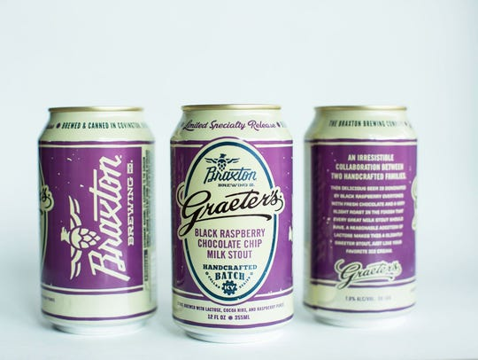 Black Raspberry Chocolate Chip milk stout, a collaboration between Braxton Brewing and Graeter's ice cream, with a new recipe for 2018.