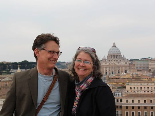 John and Dawn Geiger in Rome, Italy with the Vatican in the background.
