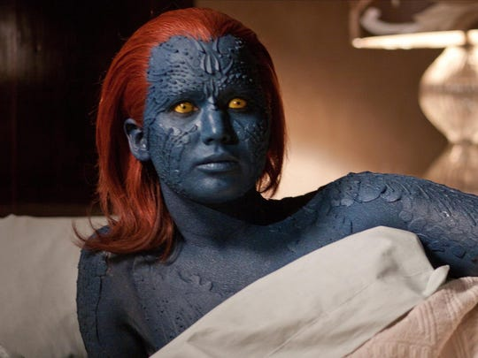 """Jennifer Lawrence as the shape-shifter Mystique in the 2011 film """"X-Men: First Class."""""""