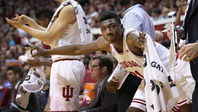 Indiana Hoosiers center Thomas Bryant (31) celebrates a teammates tree-pointer from the bench at Assembly Hall.
