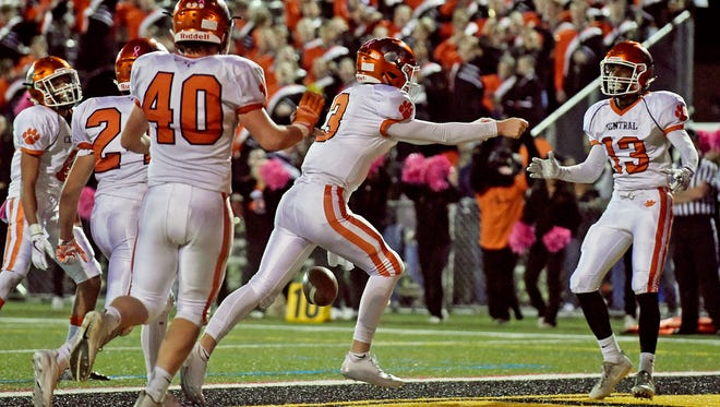 Central York's Cade Pribula (3) celebrates a touchdown against Red Lion in the second half of a YAIAA football game Friday, Oct. 20, 2017, at Red Lion. Central York won 24-21, delivering Red Lion their first defeat of the season.