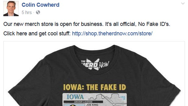 A new shirt that is available for sale on Colin Cowherd's radio show's story disses the Iowa football team.