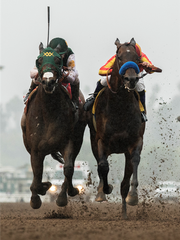 Bolt d'Oro, left, and McKinzie battle down the stretch of Saturday's San Felipe Stakes at Santa Anita.