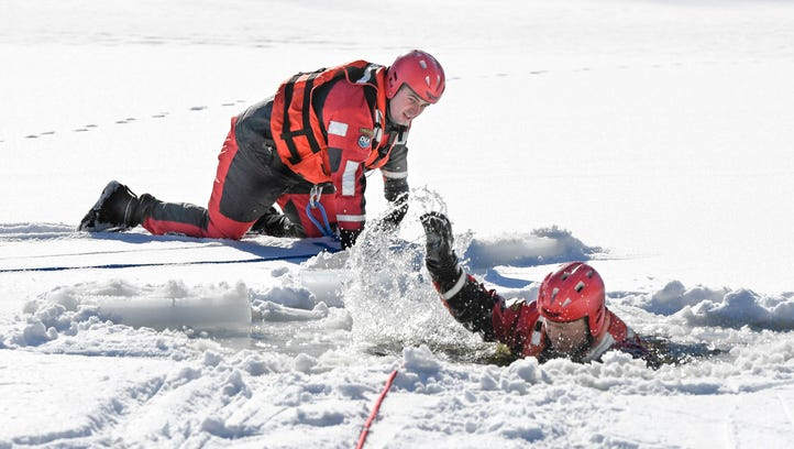 Brrr! Henderson Fire Department trains for icy water rescue