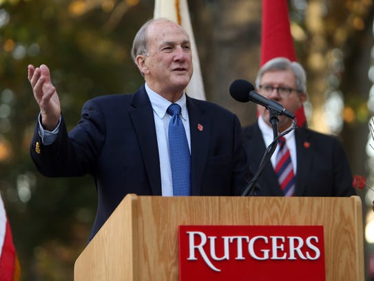 Rutgers President Robert Barchi speaks at Old Queens