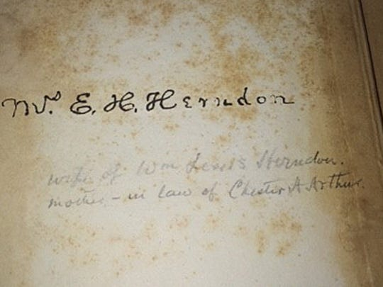 The signature in the book of Elizabeth Herndon, mother-in-law of Chester Arthur.