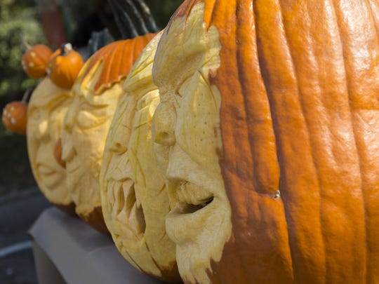 A row of jack-o-lanterns carved by Oakland Community College's chef Doug Ganhs, 43, of Livonia grimaces at the festival crowd. The End of Season event, which drew about 3,500 people, included hay rides and trick-or-treating.