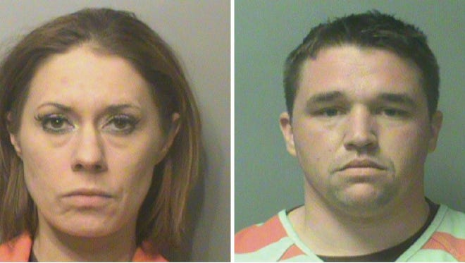 Danielle Dawson, 33, of Grimes and Andrew Wickett, 29, of Madrid, were arrested after allegedly robbing a woman and holding her at gunpoint in her Grimes apartment.