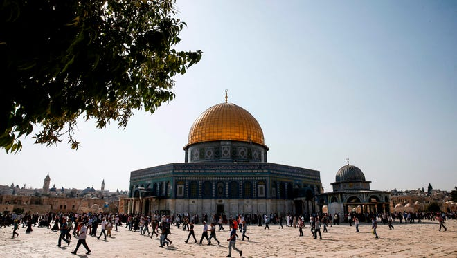 The Dome of the Rock in the Haram al-Sharif compound, known to Jews as the Temple Mount, in the old city of Jerusalem on July 27, 2017.