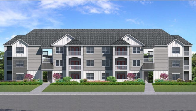 A rendering of the proposed Long Shoals apartment complex in Arden. The first phase of the project will build 256 apartment units with the ultimate goal of 472 units and 15,000 square feet of commercial floor space.