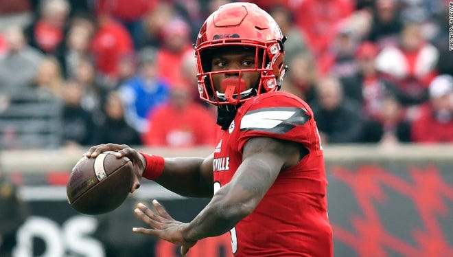 Lamar Jackson threw for 9,043 yards, ran for 4,132 yards and accounted for a total of 119 touchdowns (69 passing, 50 rushing) in three seasons at Louisville.