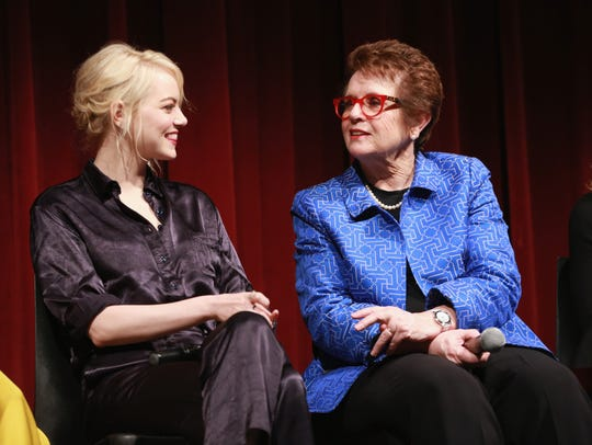 Emma Stone (left) and Billie Jean King attend a screening