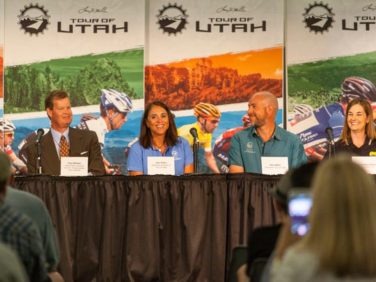 Executive Director Jenn Andrs speaks during the Tour of Utah's 2016 Roll Out Press Conference at Southern Utah University, Sunday, July 31.