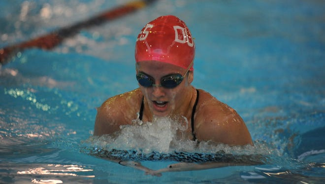 Abby Stauffer of Chambersburg is competing for Duquesne this week in the Atlantic-10 swimming championships.