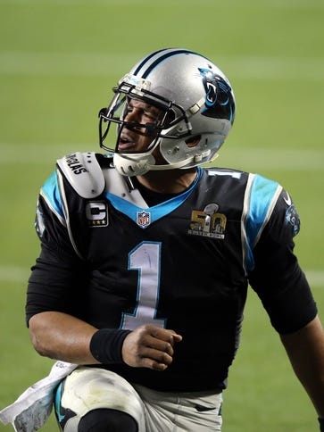 Carolina Panthers quarterback Cam Newton (1) reacts