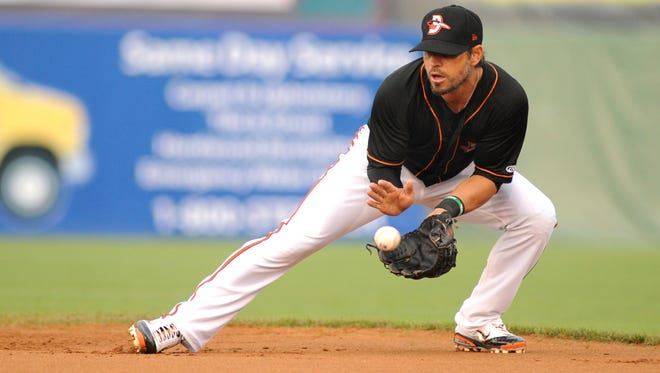 Baltimore Orioles Brian Roberts fields a grounder against the Hickory Crawdads at Arthur W. Perdue Stadium in 2012.
