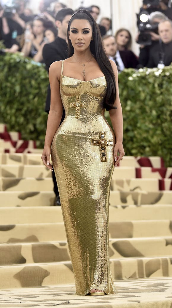 Kim Kardashian attends The Met gala.
