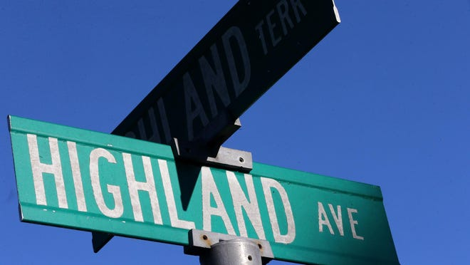 The street sign at North Highland Ave. and Highland Terrace.