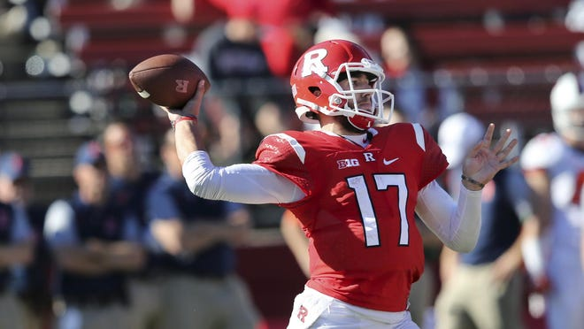 Rutgers quarterback Giovanni Rescigno (17) throws a pass during the second half Oct. 15 against Illinois in Piscataway, N.J.