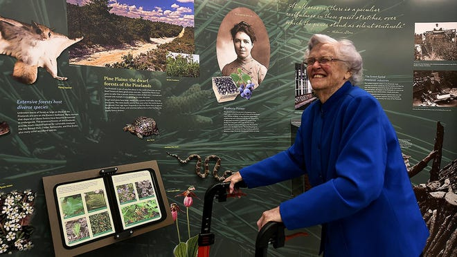 File - Candace McKee Ashmun looks over the Upland Forests display during a tour of the new exhibit at the Pinelands Commission education center named in her honor in 2018. She died May 22, 2020. She was 96.