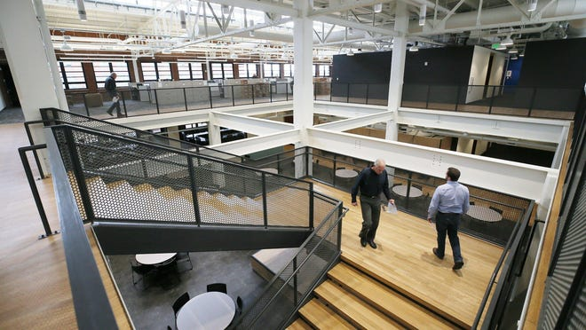 Interior of the Babcock & Wilcox Enterprises headquarters at the East End offices on East Market Street in Akron. The company said Thursday it remains track to meet long-term financial goals after a strong second-quarter performance.