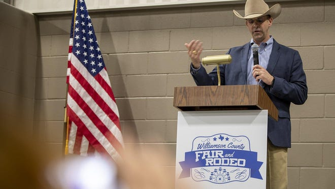 Scott Heselmeyer speaks during a news conference in January to announce the first Williamson County Fair and Rodeo. The three-day event was planned for October but has now been pushed back a year.