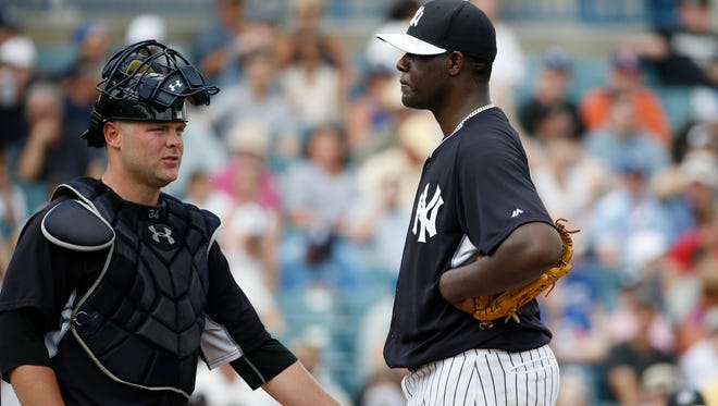 The Yankees' Michael Pineda, above talking to catcher Brian McCann, is likely to be the fifth starter, but manager Joe Girardi hasn't stated such.