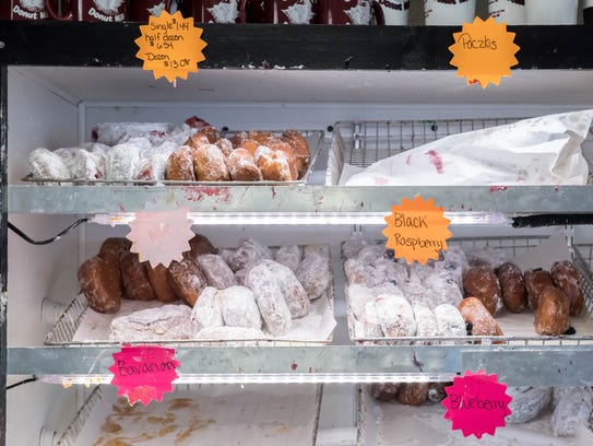 A selection of fresh paczki for sale Tuesday at Sweetwater's