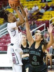 New Mexico State University's Jasmine Cooper takes