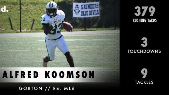Alfred Koomson of Gorton was named lohud.com's Player