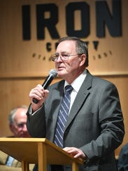 Iron County Commissioner Dale Brinkerhoff addresses