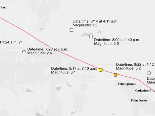 There have been seven earthquakes on or near the San