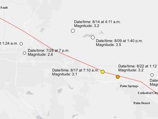 There have been seven earthquakes on or near the San Andreas Fault in the past 30 days.