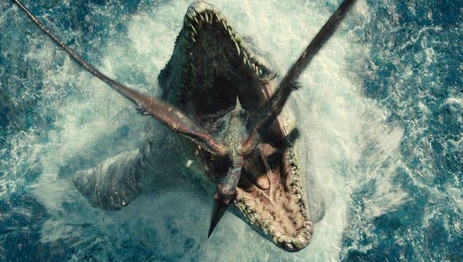 "Mosasaurus vs. a Pterandon in a scene from ""Jurassic World."""